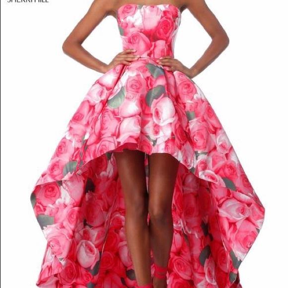 Sherri hill dresses pink floral dress poshmark m5ac85e6661ca1057789c80b9 mightylinksfo